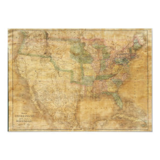 1839 David H. Burr Wall Map of the United States 13 Cm X 18 Cm Invitation Card