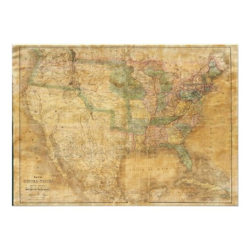 1839 David H. Burr Wall Map of the United States Personalized Announcements