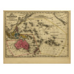 1839 Map Oceanica Austrailia New Zealand Oceania Poster