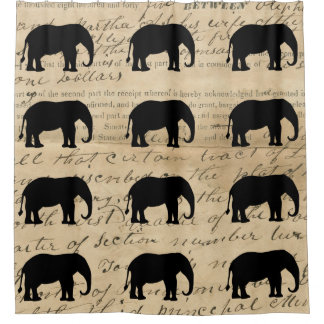 1840's Rustic Ephemera Deed Elephant Silhouette Shower Curtain