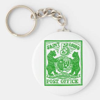 1845 St. Louis Bears Stamp, green Basic Round Button Key Ring