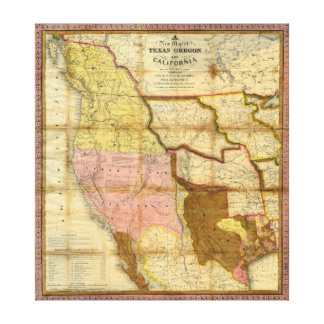 1846 Map of Texas Oregon California by A Mitchell Stretched Canvas Prints