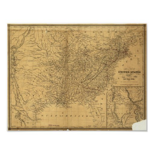 1847 Antique Rail Map of the United States