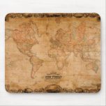 1847 ANTIQUE World MAP Mousepad