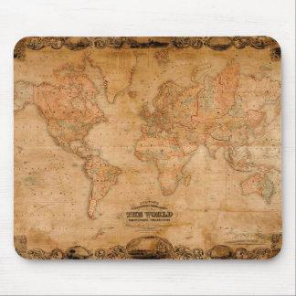 1847 ANTIQUE World MAP Mousepad