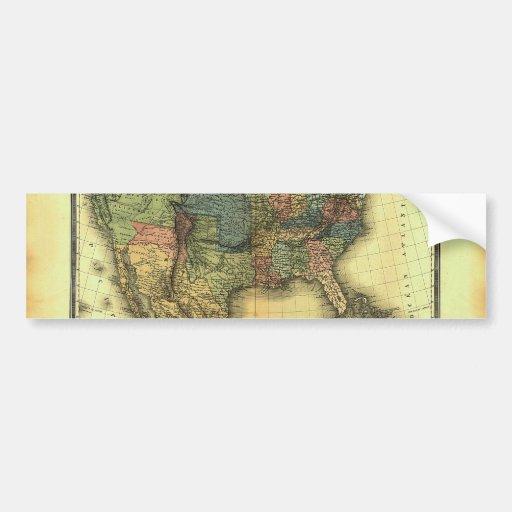 1848 Thunot Duvotenay Map:  Etats-Unis & Mexique Bumper Stickers