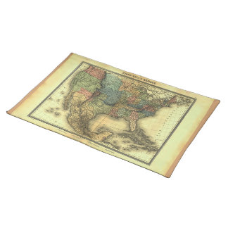 1848 Thunot Duvotenay Map:  Etats-Unis & Mexique Placemat