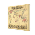 1850's Map of British Empire Throughout the World Stretched Canvas Print