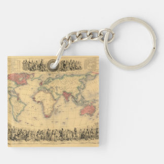 1850's Map of British Empire Throughout the World Double-Sided Square Acrylic Key Ring