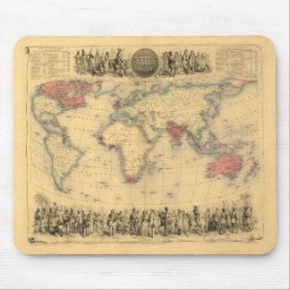1850's Map of British Empire Throughout the World Mouse Mat