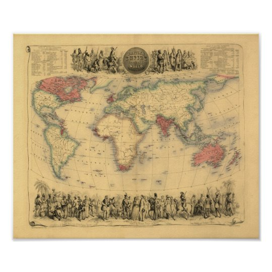 1850's Map of British Empire Throughout the World