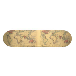 1850's Map of British Empire Throughout the World Skateboard Deck