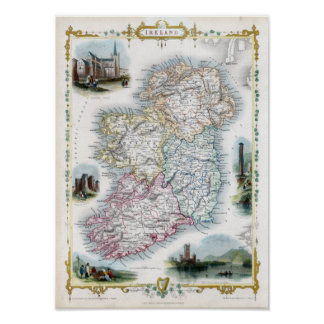 1851 Map of Ireland Poster