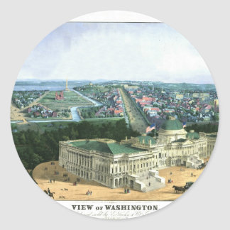 1852 Color Lithograph - View of Washington Classic Round Sticker