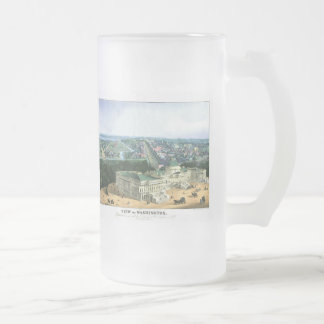 1852 Color Lithograph - View of Washington Frosted Glass Mug