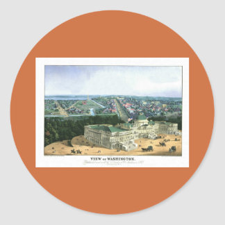 1852 Color Lithograph - View of Washington Round Sticker
