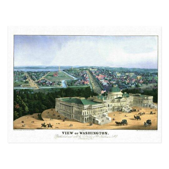 1852 Colour Lithograph - View of Washington Postcard