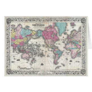 1852 J.H. Colton Map of the World Greeting Card