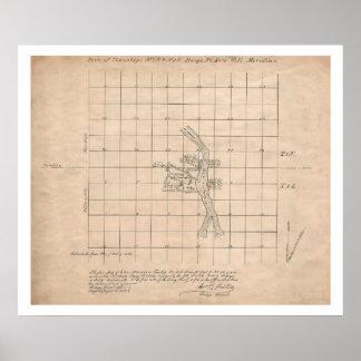 1853 Portland Oregon USGS survey map Poster