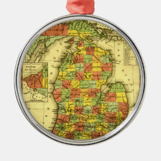 1853 Vivid Map of Michigan Show true allegiance MI Christmas Ornament
