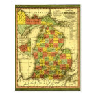 1853 Vivid Map of Michigan Show true allegiance MI Postcard