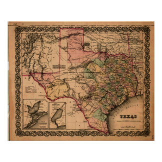 1855 Map of Texas Poster