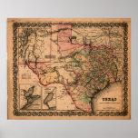 1855 Map of Texas Print