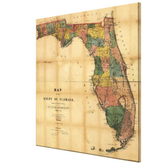 1856 Map of the State of Florida by Columbus Drew Canvas Print