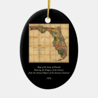 1856 Map of the State of Florida by Columbus Drew Ceramic Oval Decoration