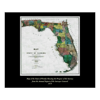 1856 Map of the State of Florida by Columbus Drew Posters