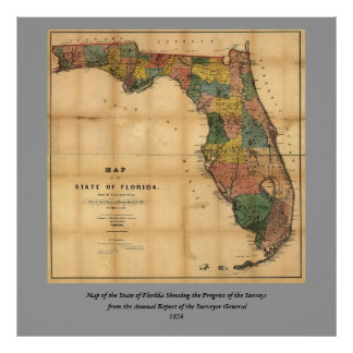 1856 Map of the State of Florida by Columbus Drew Poster