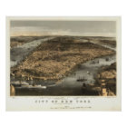 1856 New York City NY Birds Eye View Panoramic Map Poster