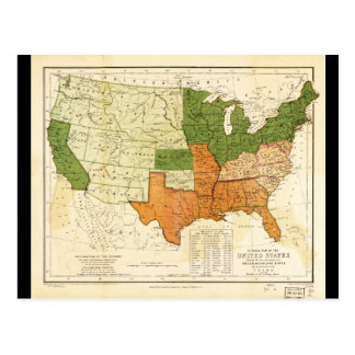 1857 American Free and Slave Holding States Map Postcard