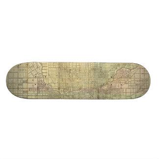 1857 Map of Chicago Illinois Skate Board Decks