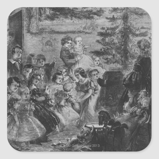 1858: A family round the Christmas tree Square Sticker