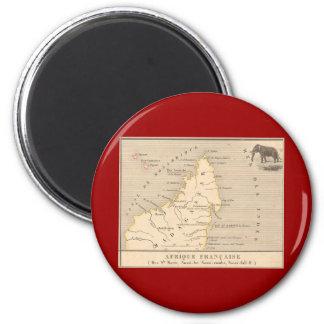 1858 Map Afrique Francaise: Iles Ste Marie, France 6 Cm Round Magnet