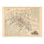 1858 Map: Itineraire des Omnibus dans Paris France