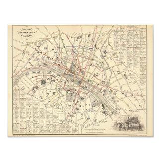 1858 Map: Itineraire des Omnibus dans Paris France Announcement