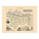 1858 Map of Aude Department, France Postcard