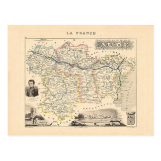 1858 Map of Aude Department, France Postcard