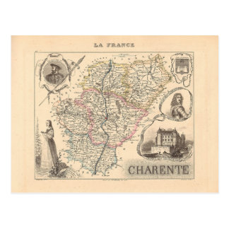 1858 Map of Charente Department France Postcards