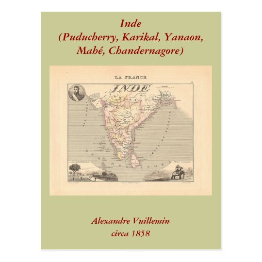 1858 Map of French India (Inde, France) Postcard