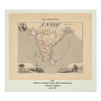 1858 Map of French India (Inde, France) Poster