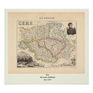 1858 Map of Gers Department, France Poster