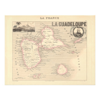 1858 Map of Guadeloupe Department, France Flyers