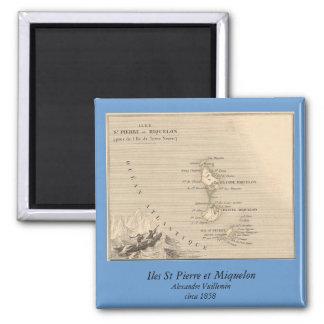 1858 Map of Iles St Pierre et Miquelon, France Square Magnet
