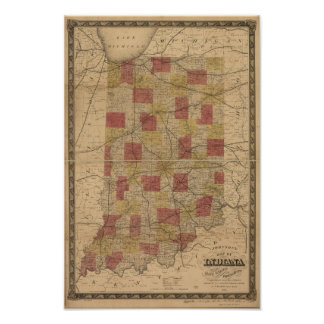1858 Map of Indiana depicting Rails and Townships Poster