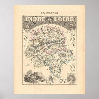 1858 Map of Indre et Loire Department, France Poster