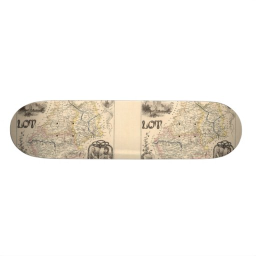 1858 Map of Lot Department, France Skate Board