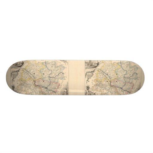1858 Map of Lot et Garonne Department, France Skate Board